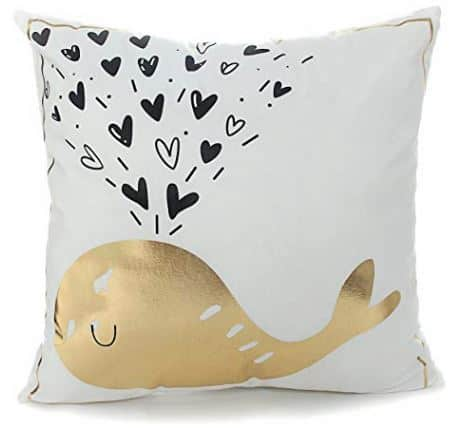 Cute Whale with Hearts Gold Throw Pillow