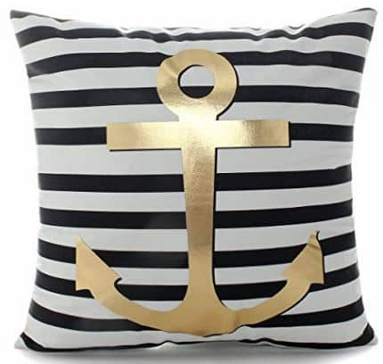 Gold Anchor on Black and White Stripe Pillow