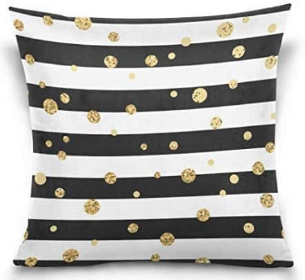 Gold Spots on Black and White Stripe Pillow