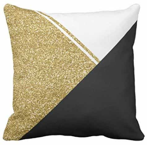 Modern Throw Pillow Cover in Black White and Gold