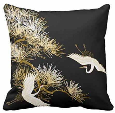 White and Gold Cranes on Black Decorative Throw Pillow